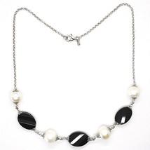 Collier Argent 925, Onyx Noir Ovale à Facettes, Perles, 44 cm, Chaîne Rolo image 2