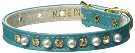 Mirage Pet Products 3/8-Inch Pearl and Clear Crystals Pet Collar, Size 10, Turqu - $24.54
