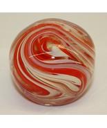 Vintage Glass Paper Weight - Dynasty Gallery Orange swirls - $25.73