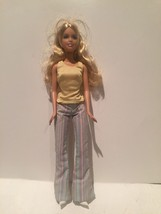 Barbie Blond Gold Tube Top Striped 1960's Style Bell Bottoms White Heels - $19.79
