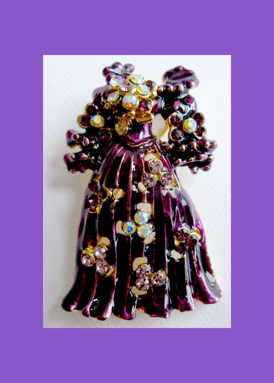 Fancy purple gown with crystals fashion pin bridal bouquet Bonanza