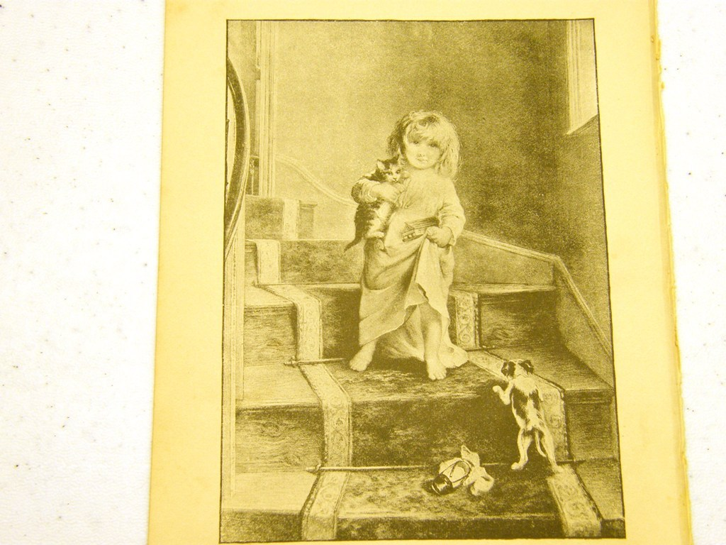 Antique illustration 1891 - Little girl on stairs with kitte