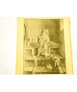 Antique illustration 1891 - Little girl on stairs with kitte - $5.00
