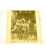 Antique illustration 1891 - Sibling children with bird at ki - $5.00