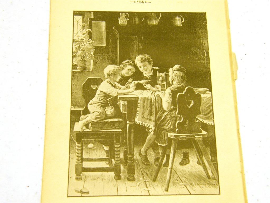 Antique illustration 1891 - Sibling children with bird at ki