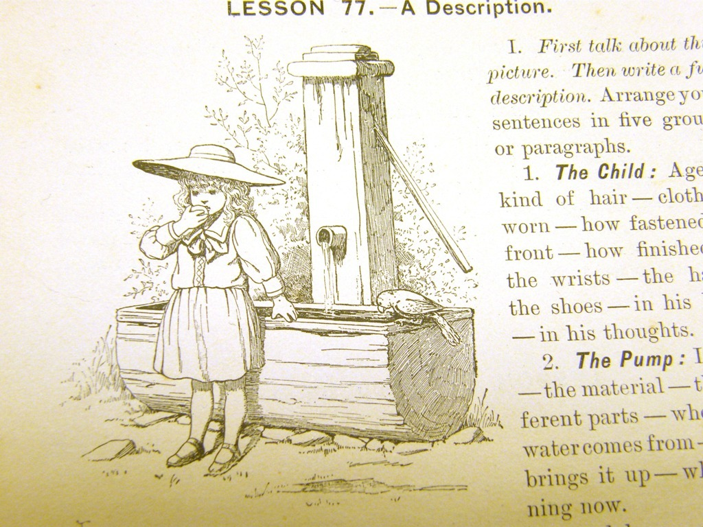 Antique illustrations set 1891 - child, girl, play, cat, whe