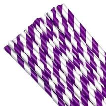 "7.75"" purple stripe print paper straws / 6-25 pieces / party supplies - $1.37 CAD+"