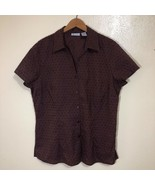Lee City Elements Embroidered Button Down Blouse Womens Size L Summer - $24.74