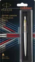 Parker Jotter Stainless Steel GT Gold Trim Fine Tip Blue Ink Ballpoint Ball 6085 - $16.40