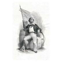 Vignette of sailor holding flag, anchor Original Die Engraving on India,... - $49.00