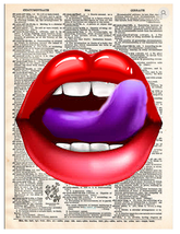 Art N Wordz Lips Purple LTT Dictionary Page Pop Art Wall or Desk Print P... - $21.00