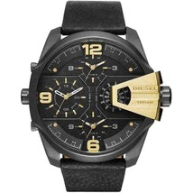 Diesel Men's DZ7377 Uber Chief Gunmetal Black Leather Watch - $190.68 CAD