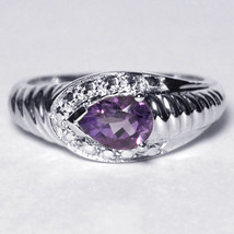 Natural Pear Purple Amethyst Solitaire Promise Ring Womens 925 Sterling ... - $49.00