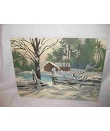 """Neat Vintage 12"""" X 16"""" Paint By Number Winter Landscape Scene With Cabin... - $67.54"""