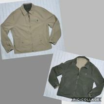 Polo Ralph Lauren Mens Coat L Reversible khaki Hunter Green Canvas med weight - $135.44