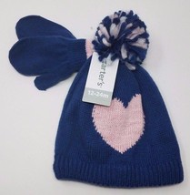 Carter's Baby Girls Winter/Fall Knit Hat and Mittens Set, Navy/Pink 12-2... - $18.99