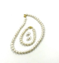 NEW 9-10mm  White Baroque Freshwater Pearl Necklace Bracelet Earring Set - $58.41