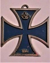 Large Vintage Maltese Cross Pendant Necklace Glass Stones Unsigned 3 3/8 - $49.49