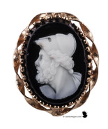 Miniature cameo. Onyx Edwardian cameo of Ajax in solid 14 kt yellow gold... - $355.00