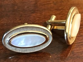 Gold Oval Mother of Pearl  SWANK Vintage Cufflinks Classic Retro Bling - $30.40