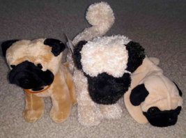 Lot 3 Fawn Pug Dog Stuffed Animals Plush Toy Ty Beanie Mini Breed & Doug... - $8.90