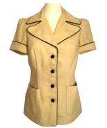 50s Khaki Yellow Short Sleeve Vintage Fitted Sassy Lassy Pin Up Ladies J... - $32.00