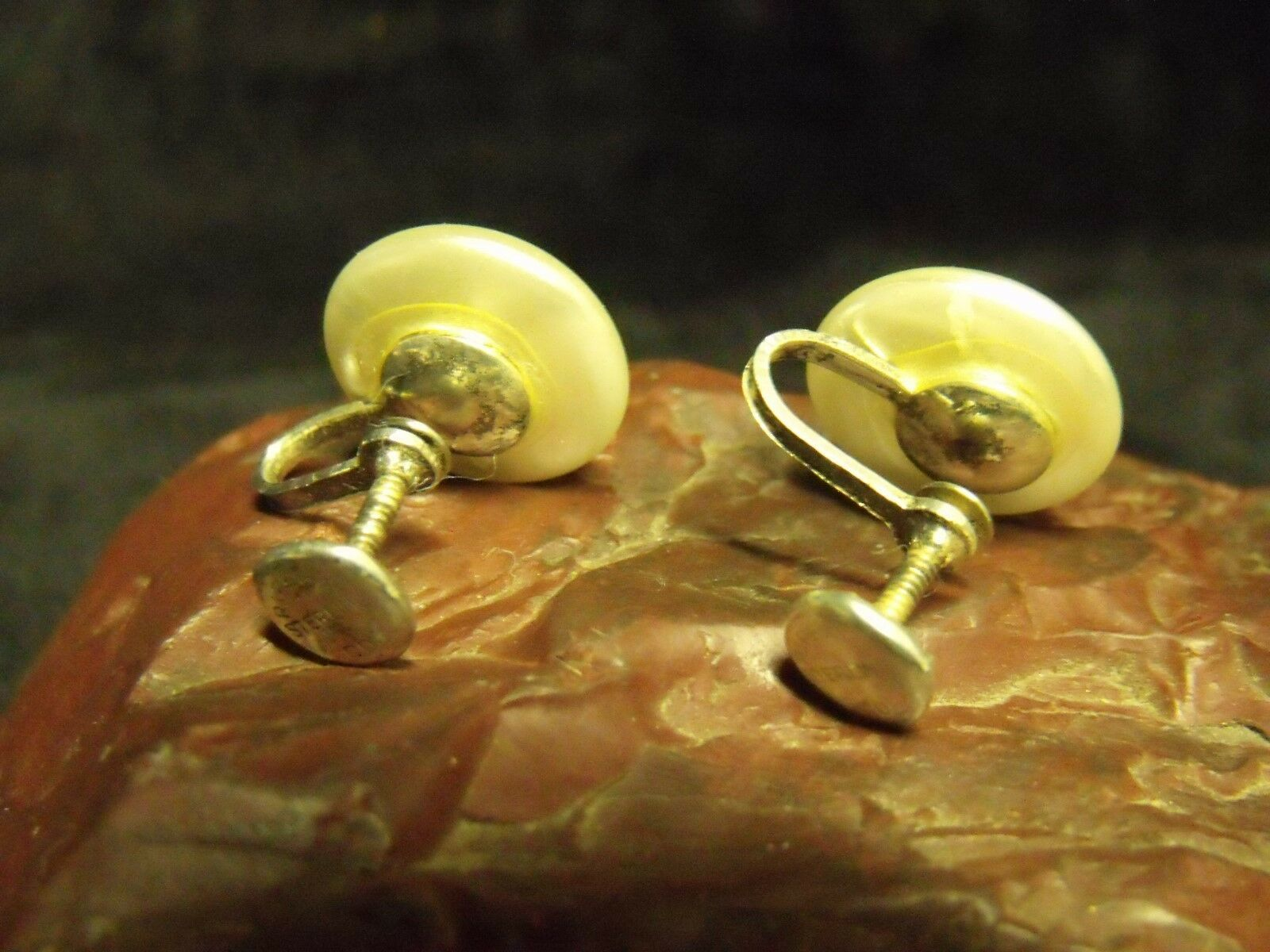 """ANTIQUE RHODE ISLAND PEARL CO. 9/16"""" ROUND FAUX PEARL BUTTON STERLING EARRINGS"""