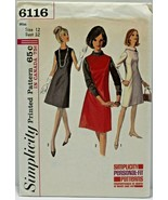 Vintage 1960s Simplicity Sewing Pattern 6116 Dress Jumper Size 12 32B - $16.19