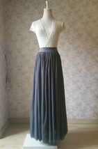 DARK GRAY Maxi Tulle Skirt For Wedding Dark Grey Wedding Bridesmaid Skir... - $45.50