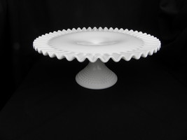 Vint. Fenton Milk Glass Hobnail Crimped Piecrust Edge Footed/Pedestal Ca... - $44.99