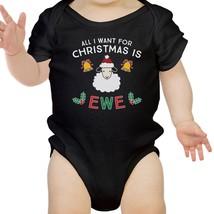 All I Want For Christmas Is Ewe Baby Black Bodysuit - $13.99