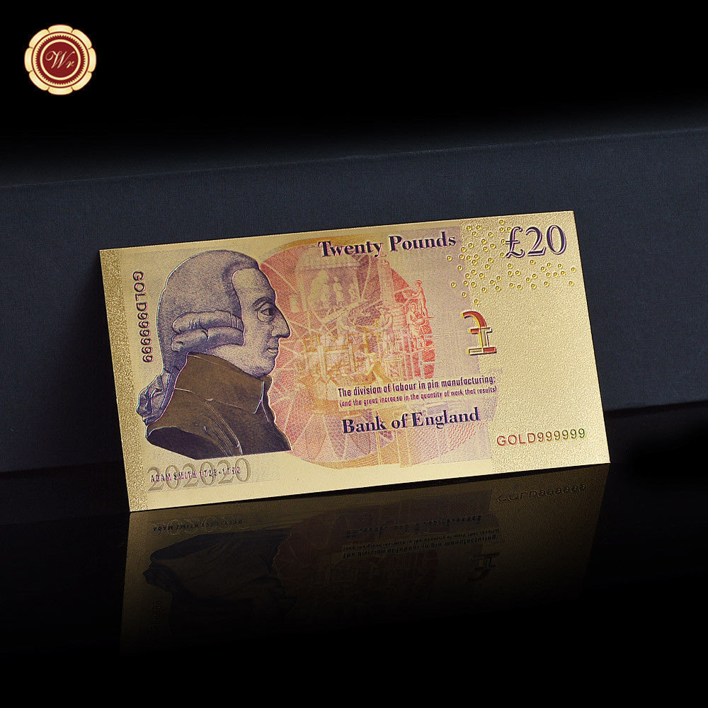 WR Set of Color Gold UK Banknotes 5 Pound - 50 Pounds British Polymer Note Gifts image 7