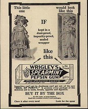 Gum 1914 Ad Wrigley's Spearmint Pepsin Gum Sealed Wrapper Would Keep Dol... - $14.99