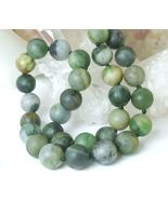 Polar Jade Round Matte 10mm Green Gemstone Necklace 19 inch - $49.00