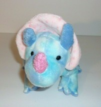"Ty Pluffies Blue White Pink Tromps Triceratops Dinosaur Plush Bean Bag 12"" 2005 - $7.34"