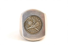 Vintage WWII Men's Ring New Zealand Third Division 1941 Stainless Steel ... - $55.98