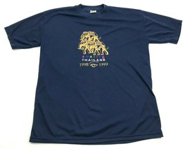 VINTAGE Thailand Elephant Shirt Size L Large Navy Blue Embroidered Graph... - $27.33
