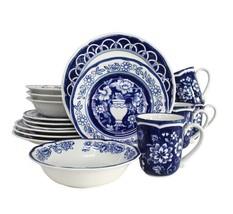 Blue Garden 16 Piece Hand Painted Stoneware Dinnerware Set by Euro Ceramica - $115.78
