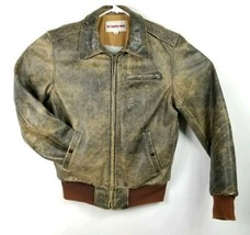 Sharper Image Distressed Leather Vtg Bomber Jacket Mens Medium Long Wool... - $74.46