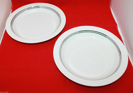 Rosenthal Thomas Germany Arcta Platinum Band 2 Rimmed Soup Bowls Set Mat... - $96.39