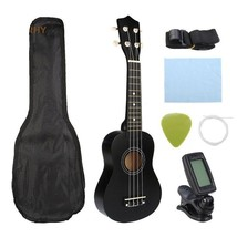 "Guitar Combo 21"" Black Soprano Ukulele Uke Hawaii Bass Guitar Guitarra - $52.45"