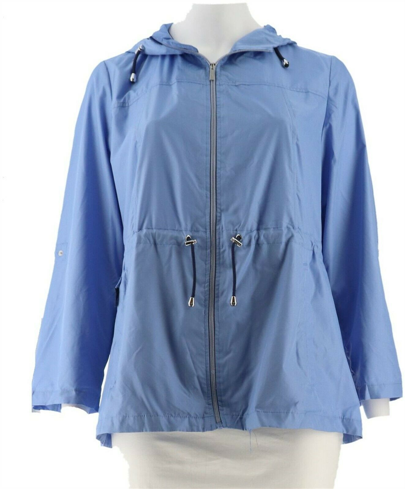Primary image for Susan Graver Packable Anorak Jacket Hood Periwinkle Blue 1X NEW A287942