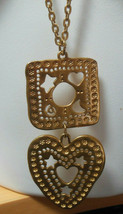 Vintage Avon Long Gold-tone Square/Heart Filigree Pendant Necklace Stars... - $24.26