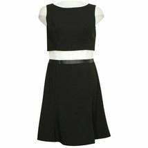 RALPH LAUREN Black Stretch Faux Leather Trim Popover Fit Flare Dress 12 - $69.99