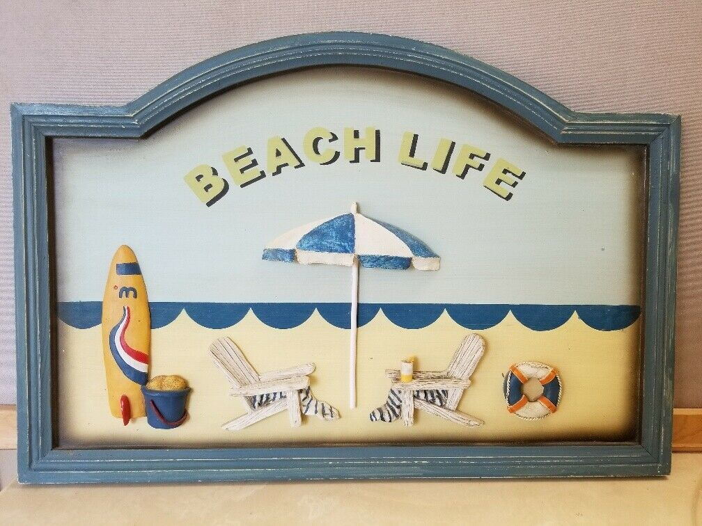Beach Life Wood 3D Sign Wall Plaque Ocean Decor Adirondack Chairs Surfboard