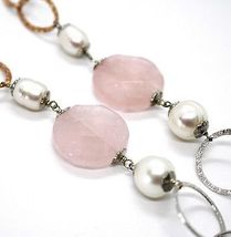 925 Silver Necklace, Rose Quartz Disk, Chain Rolo worked, Pearls, 70 cm image 5