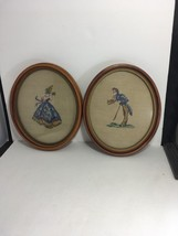Needle Point Vintage Completed Lady & Gent Oval Art Craft Ready Hang Set... - $44.55