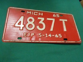 Great Collectible License Plate/Tag 1965 MICHIGAN Exp. 5-14-65...4837T - $21.06