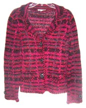 Size S - Coldwater Creek Pink & Navy Thick Ramie Blend Jacket Sweater - $33.24