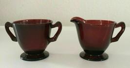 Anchor Hocking Royal Ruby Red Depression Glass Open Sugar & Creamer Set - $23.91